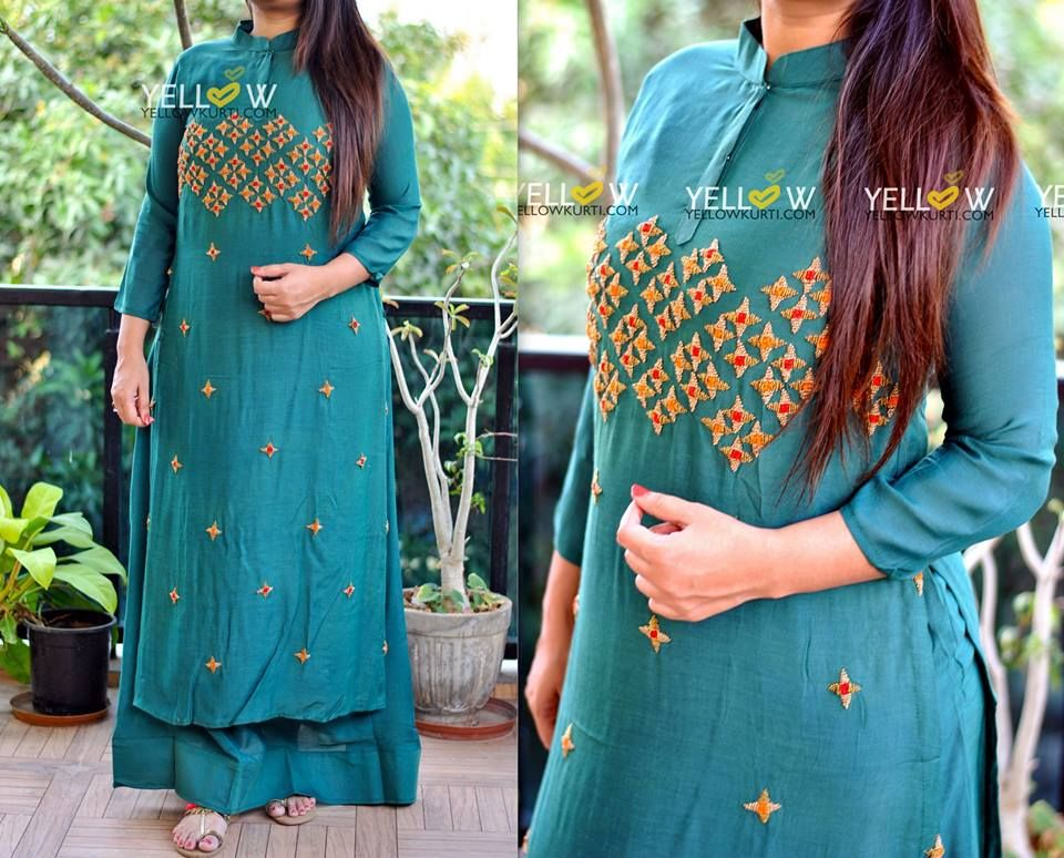 Teal coloured double layered Muslin Long Kurti with heavy beads and thread work