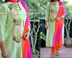 Pastel Green Kurti with colorful thread embroidery teamed up with double shaded shiffon Dupatta . Bottom not included