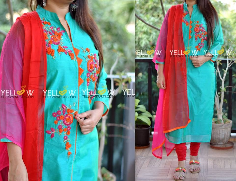 Dual shaded Blue Chanderi Kurti with colorful thread embroidery teamed up with double shaded shiffon Dupatta . Bottom not included