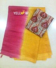 Silk Linen Saree in Mango Yellow with Pink Pallu . Comes with a printed soft Jute Blouse material.