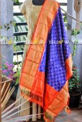 Pure Silk Ikkat dupatta with big Border