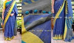 Pure Linen Saree with dual shaded temple borders on either sides and geometrical pattern woven Pallu with pom poms.