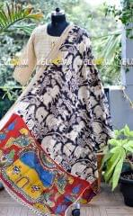 Animal printed Kalamkari silk dupatta