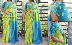 Mangalagiri Silk cotton shibori Saree with dull zari border and contrasting pallu with zari stripes