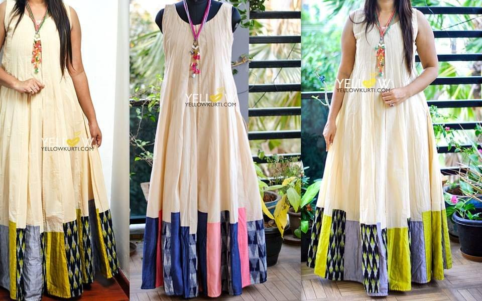 Layered Sleeveless Chanderi gown with Ikkat and rawsilk Patchwork Flare
