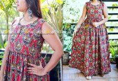 Printed Kalamkari long gown with front buttons