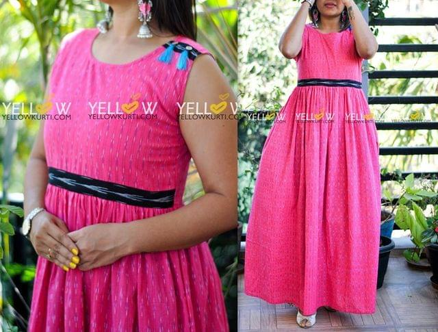 Pink Ikkat long gown with black and blue highlights .