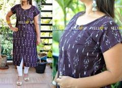 Deep wine coloured straight fit ikkat Kurti with front slit and white buttons