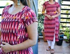 Purple and pink zig zag printed straight fit ikkat Kurti with side slit and yellow highlights