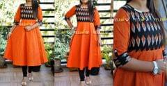 Orange and black Ikkat cotton Kurti