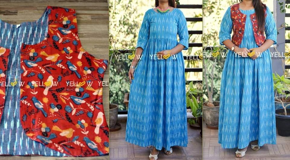 Blue Ikkat Long gown with double sided Ikkat and Kalamkari overcoat (detachable)