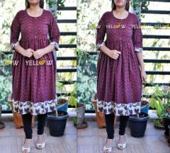 Deep Maroon Ikkat umbrella Kurti with kalamkari Highlights