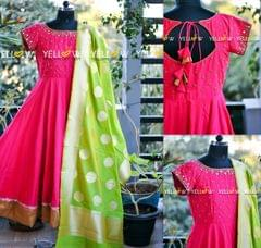 Semi Silk anarkali with antique golden beads and mirror embroidery teamed up with banarasi dupatta