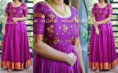 Mangalagiri Silk Long gown with antique gold sequins embroidery and antique golden border *Colors available