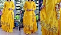 Yellow chanderi full sleeve long gown with heavily handworked tie up coat
