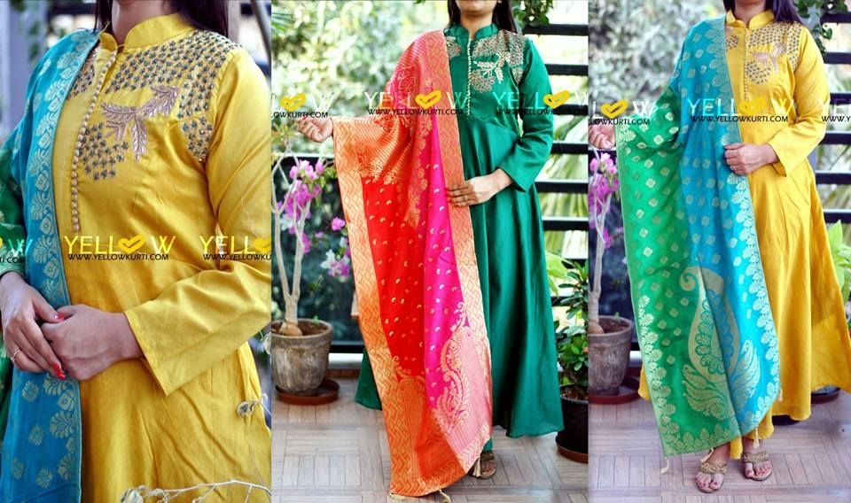 Long muslin embroidered long kurti with high neck teamed up with dual shaded Banaras dupatta