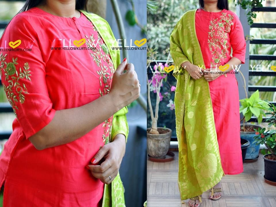 Straight fit chanderi heavily handworked long kurti with Banaras dupatta
