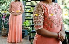 Peach Georgette long with heavy gota worked yoke and sleeves highlighted with pearl work