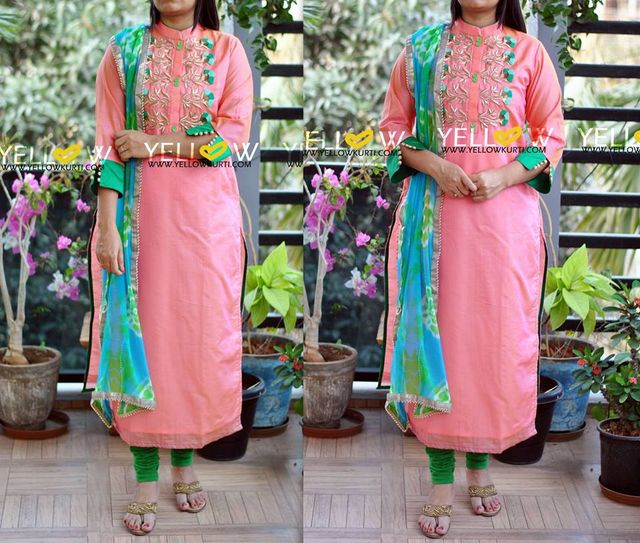 Peach Chanderi long kurti with heavy embroidered yoke teamed up with georgette dual shaded dupatta