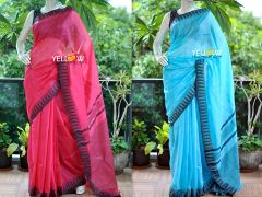 Kota Viscose Saree with temple border and striped pallu .