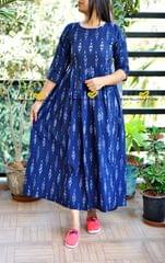Navy blue cotton ikkat evening gown