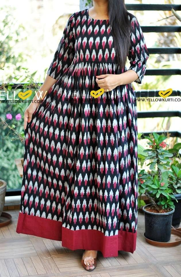 black and maroon cotton printed ikkat long gown