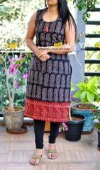 Block printed cotton kurti. sleeves provided