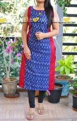 Ikkat printed cotton kurti. sleeves provided