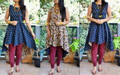 Wear it as you like ! Sleeveless Ikkat and kalamkari fusion reversible assymetric kurti
