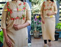 Rayon straight fit kurti with embroidered yoke