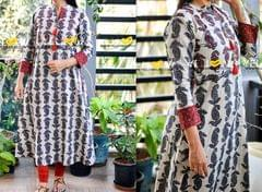 Printed cotton long kurti