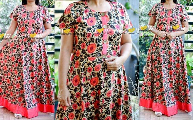 Cotton floral printed long gown