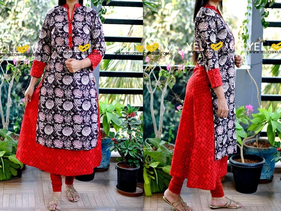 Printed cotton long kurti with kalamkari overlay