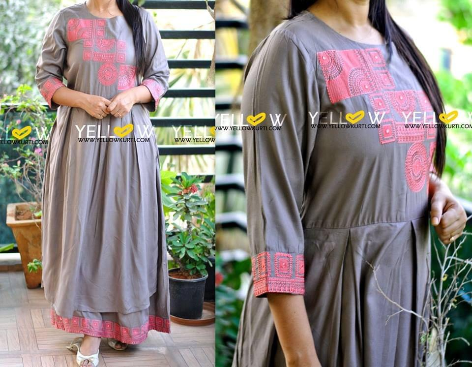 Gray Rayon long layered Kurti with pink embroidered highlights