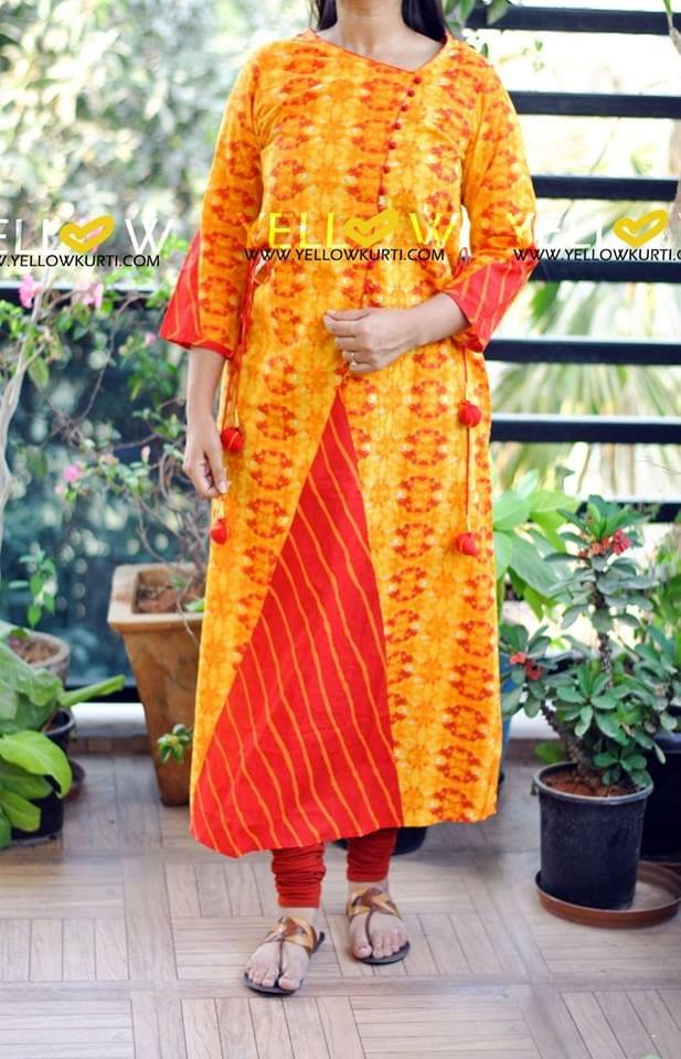 Yellow printed cotton long kurti with red highlights