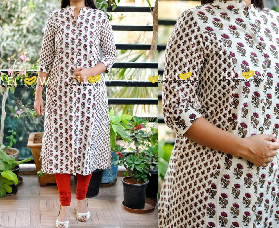 White floral printed cotton long kurti