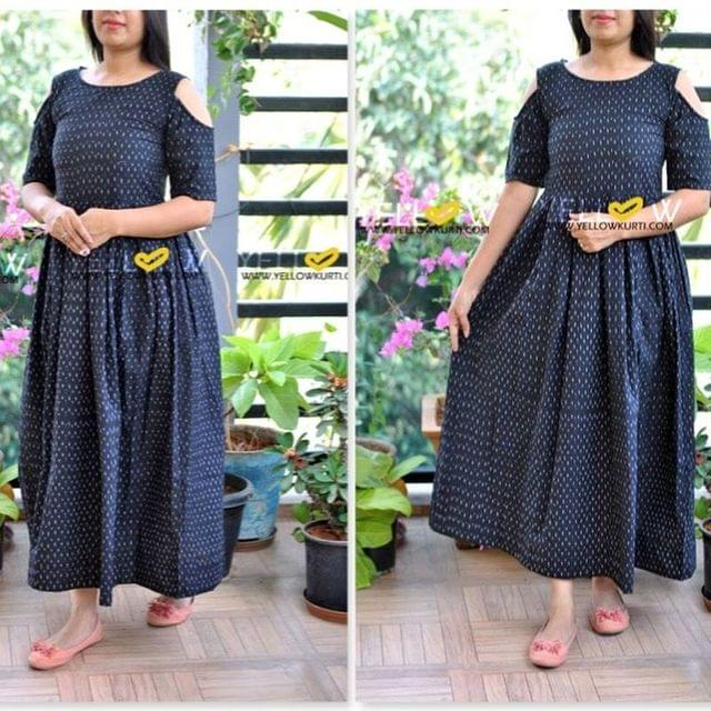 Black cold shoulder Ikkat indo-western gown