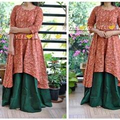 Kalamkari and Mangalagiri Cotton layered long gown with long sleeves