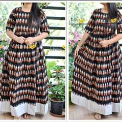Ikkat Cotton long gown with long sleeves