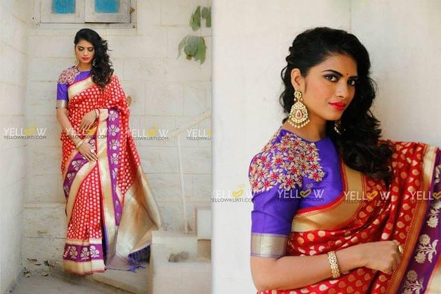 Red and Purple Banaras Saree with Blue Pallu and matching plain Blouse material with border.