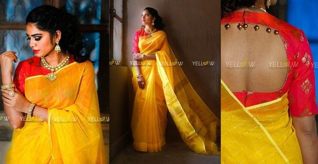 Yellow Silk cotton handloom saree with woven sequins and floral Pallu
