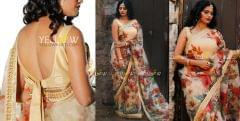 Floral Organza Saree with kundan work borders