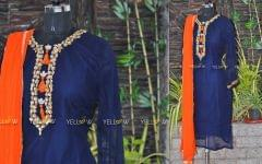 navy blue georgette kurti with sequins embroidery with chiffon dupatta
