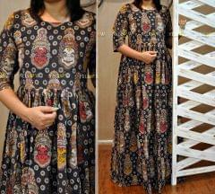 kalamkari long gown - black