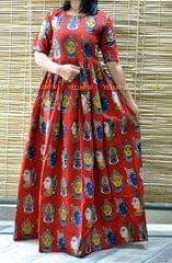 kalamkari long gown - red