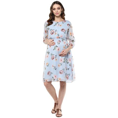 Sky blue floral print maternity dress