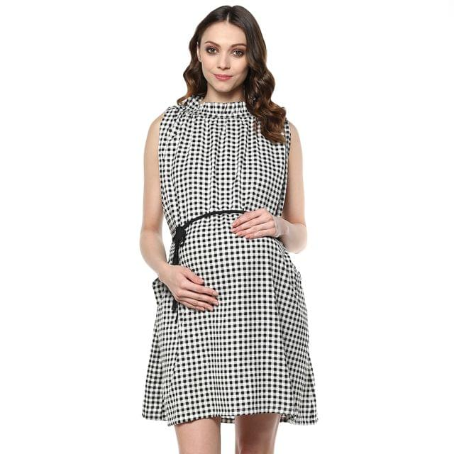 Black  check Print pocket maternity dress