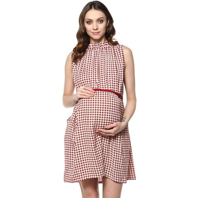 Red check Print pocket maternity dress