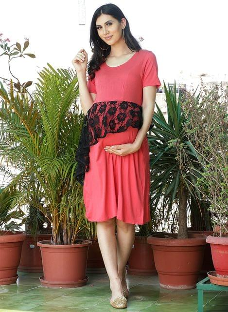 Red Asymmetric Peplum maternity dress