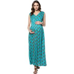 Green floral maxi maternity dress